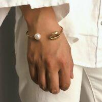 Gold Shell Bracelet Pearl Beads Charm Cuff Opening Bracelet Bohemian Beach Women