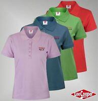 Ladies Lee Cooper Casual Cotton Regular Top Plain Polo Shirt Sizes 8-16