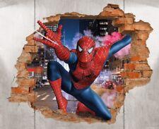 Spiderman Brick Wall Decal 3D Art Stickers Vinyl Room Home Bedroom