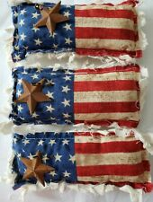 Primitive Bowl Filler Ornies American Flag w/Star Fabric 3 piece set New