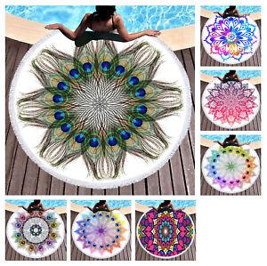 Chic Bohemian Mandala Flower Peacock Feathers Large Beach Towel Blanket Yoga Mat