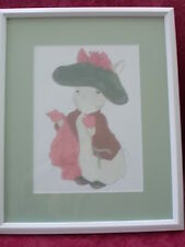 Beatrix Potter Benjamin Bunny Framed Print Childs Bedroom Nursery 17x21 Green