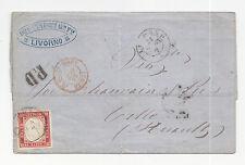 S461-IV SARDEGNA-40 CENT DA LIVORNO A CETTE (FRANCIA) 1863