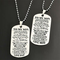 EG_ Stainless Steel To My Son Daughter Bead Chain Letters Dog Tag Necklace Dream