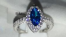 925 STERLING SILVER BEAUTIFUL BLUE WHITE SAPPHIRE DRESS RING SZ L USA 6 EUR 52