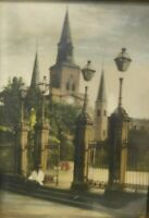 Antique Old Vintage Tinted Photograph Church Cathedral Gate 1914