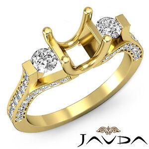 Genuine Round Diamond Three Stone Engagement Ring 18k Yellow Gold Semi Mount 1Ct