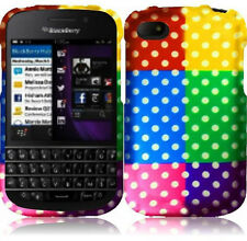 For BlackBerry Q10 Rubberized HARD Case Snap On Phone Cover Colorful Dots