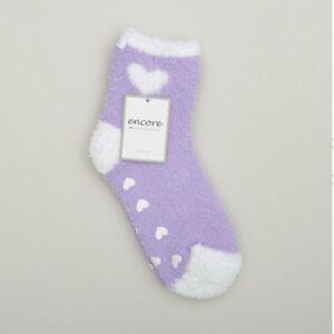 Karen Neuburger PERIWINKLE Heart Non Slip Grip Slipper Socks Cozy New