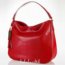 RALPH LAUREN RL HARROW RED SNAKE LEATHER HOBO SHOULDER BAG HANDBAG NWT
