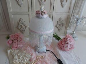 OOAK SHABBY VINTAGE VICTORIAN GLASS BEADED FRINGED PINK ROSE BOUDOIR TABLE LAMP