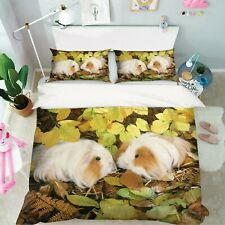 3D Yellow Leaves Hamster R692 Animal Bed Pillowcases Quilt Duvet Cover Queen Kay