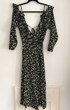 Topshop Black Floral Print Wrap Dress, UK Size 8, Tall New