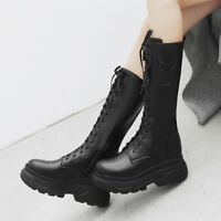 Womens Fashion Winter Punk Gothic Thicken Chunky Heels Platform Mid Calf Boots