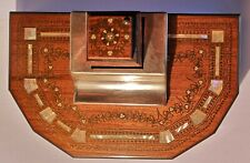 Antique 19th century rosewood & brass inlaid pen desk stand Standish ink well