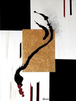 """Contemporary Painting – Black Serpent - 18"""" x 24"""""""