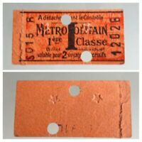 Ticket de métro Paris 1er classe ,2 voyages 1941, poinçon étoiles ,WW2