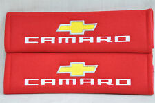 Embroidery Seat Belt Cover Shoulder Pads Pair Chevrolet Camaro Red Pads