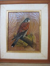 """Original Oil Painting Bird On Leaves, Signed By Narong W/ Wooden Frame, 10"""" X 8"""""""