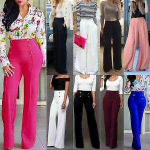 Ladies Wide-Leg Palazzo Long Pants High Waist Loose Casual Baggy Flared Trousers