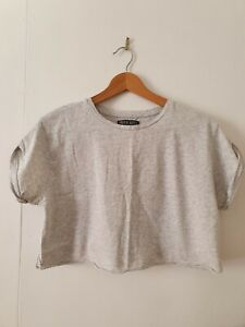 Nude Lucy Grey Cropped Cut Off T-shirt Size XS
