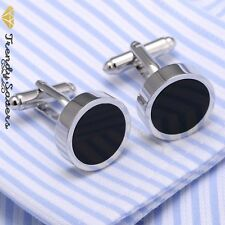Luxury Men's Black Eye Sterling Silver Plated Formal/Wedding Cuff links Pair #1