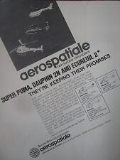 5/1982 PUB AEROSPATIALE HELICOPTERE SUPER PUMA ECUREUIL 2 DAUPHIN 2N ORIGINAL AD