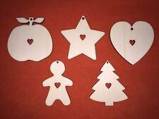 100 pcs CHRISTMAS set n2 & heart DESIGN EMBELLISHMENT WOODEN HANGING CRAFT SHAPE