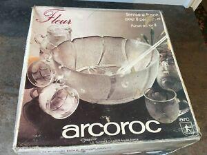 VINTAGE ARCOROC Fleur Glass PUNCH BOWL SET 8 Cups Ladle Party / Christmas