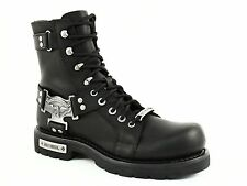 "Harley Davidson CHARLES 7"" Mens Riding Lace Zip Black Leather Boot US-9"