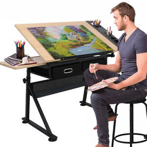 Adjustable Drafting Table Stool 2 Drawers Art Craft Drawing Board Architect Desk
