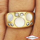 TIFFANY & CO Diamond Mother Of Pearl 18K Gold Inlay Set Ring 5.7 Grams NR