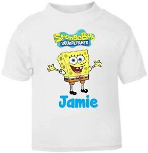Personalised Kids Spongebob SQ Pants Soft T-Shirt Childrens Short Sleeve