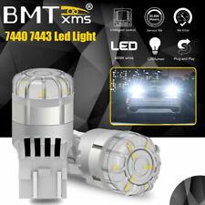 2X 7443 7440 LED Back Up Reverse Light Parking DRL Bulbs 6500K White Canbus