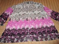 Fashion Pink Black  Pleated Blouse Semi Sheer 2X 20 22 Plus Pretty Shirt A16