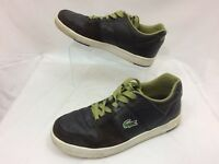 Lacoste Men Black Leather Low Top Fashion Sneakers Size 7