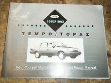 1992-93 FORD TEMPO MERCURY TOPAZ ORIGINAL FACTORY DO IT YOURSELF MANUAL SERVICE