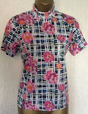 New* ASOS * FLORAL CHECK PRINT HIGH NECK CASUAL TOP. SIZE 10