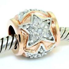 Real 18 Diamond 9ct 9K 375 Solid Rose Gold Bead Charm FIT EURO BRACELETS