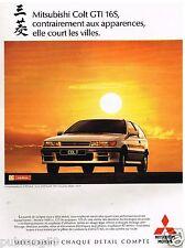Publicité Advertising 1989 Mitsubishi Colt GTI 16 S