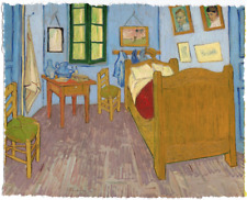VINCENT VAN GOGH BEDROOM IN ARLES BED LIMITED EDITION ART PRINT 24X30 blue room