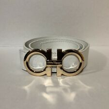 Mens White and Gold Ferragamo Belt