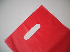 50 Plastic Die Cut Gift Fashion Carry Shopping Bags - Red 330 x 230mm