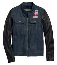 Harley Davidson Men Arterial Abrasion-Resistant Denim Jacket Leather Sleeves NWT