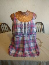 Size 22 Multi Tone Red Checked Sleeveless Semi Fitted Lace Trim Top