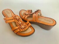Born Fancy Orange Leather Wedge Slides Straps Floral Women's 9 40.5 Mint Pretty