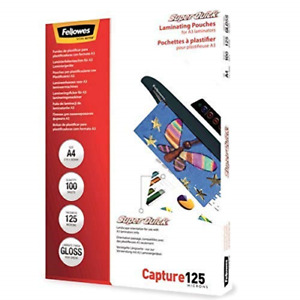 Fellowes Capture A4 125 Micron Super Quick Glossy Laminating Pouches Pack of 100