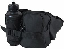 Black Tactical WAIST Pack and Bottle - Water Bottle Holder Bum Bag Fanny Hiking