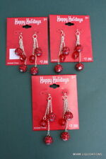 Target Ta824649Es red Happy Holidays Xmas Lot of 3 Hanging Chain Balls earrings
