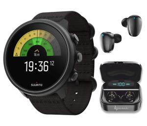 SUUNTO 9 Baro Multisport GPS Smartwatch Charcoal Titanium with Black EarBuds